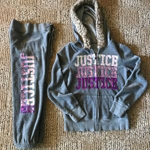 Justice zip up hoodie sweatpants outfit 2pc set